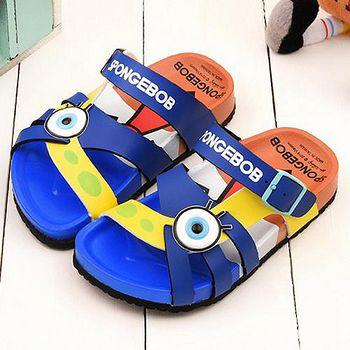 童鞋城堡 海棉寶寶 中童 軟木風格拖鞋SG2739 藍