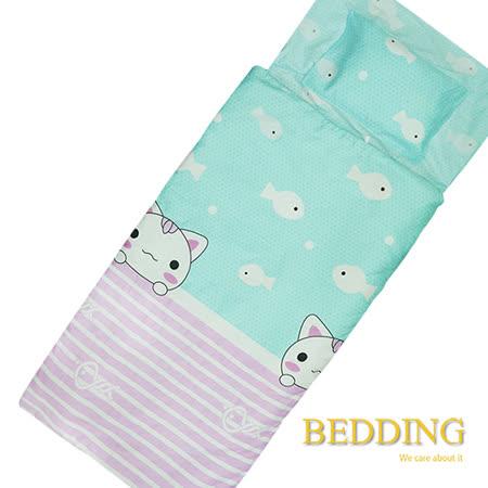 【BEDDING】貓愛魚 100%精梳棉舖棉冬夏兩用兒童睡袋
