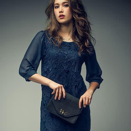 日本Portcros 預購-優雅蕾絲拼接透膚雪紡七分袖洋裝(共三色)