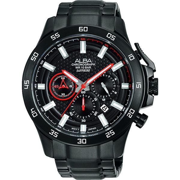 ALBA 急速快車手三眼計時腕錶~IP黑46mm VD53~X174R^(AT3725X1