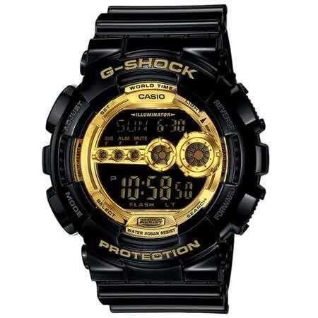 CASIO G-SHOCK 黑金旋風潮流時尚運動色電子腕錶/55mm/GD-100GB-1