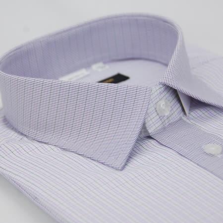 【金安德森】紫色格紋變化領窄版短袖襯衫