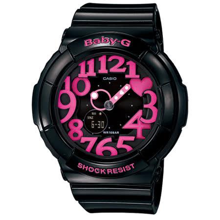 CASIO BABY-G 霓虹甜心時尚運動腕錶/黑桃紅/43.4mm/BGA-130-1B
