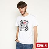 EDWIN MOTO零件印花短袖T恤-男-白色