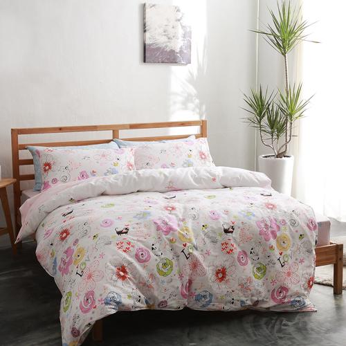 美夢元素 製精梳棉 雙人加大四件式 兩用被床包組~夢遊仙境