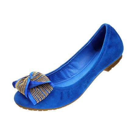 【Kimo德國品牌手工氣墊鞋】反毛皮高質感娃娃鞋平底鞋(質感藍D5014WF001016)