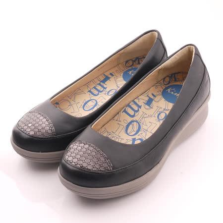 【Kimo德國品牌手工氣墊鞋】黑色系獨特皮紋設計休閒鞋平底鞋厚底鞋(氣質黑K14WF064133)