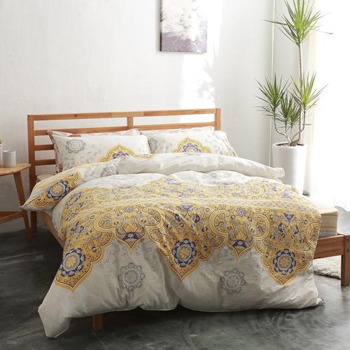 美夢元素 製精梳棉 雙人四件式 兩用被床包組~黃金印象