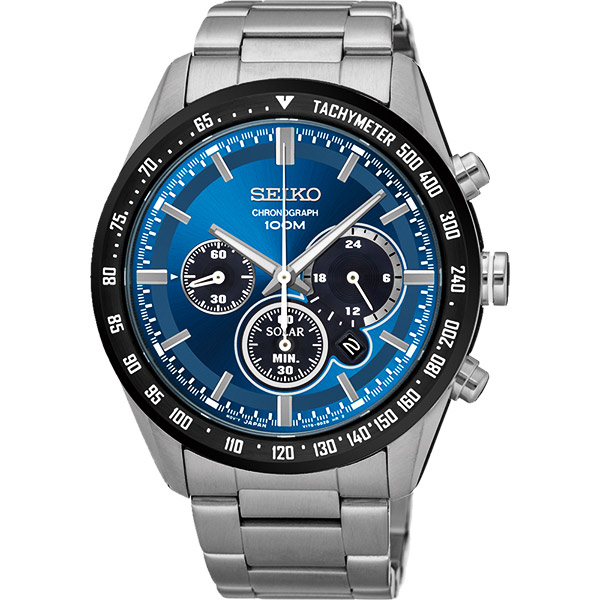 SEIKO Criteria 極速風暴太陽能計時碼錶~藍42mm V175~0DK0B^(