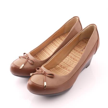 【Kimo德國品牌手工氣墊鞋】獨特皮紋設計娃娃厚底楔型鞋(氣質咖K14WF072048)