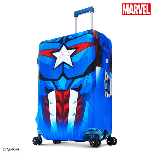 【Marvel】漫威快樂 happy go英雄造型防刮彈性布行李箱箱套-美國隊長(L)