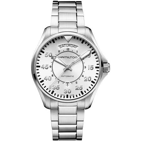 Hamilton KHAKI AVIATION 飛航運動玩家機械腕錶-銀/42mm H64615155