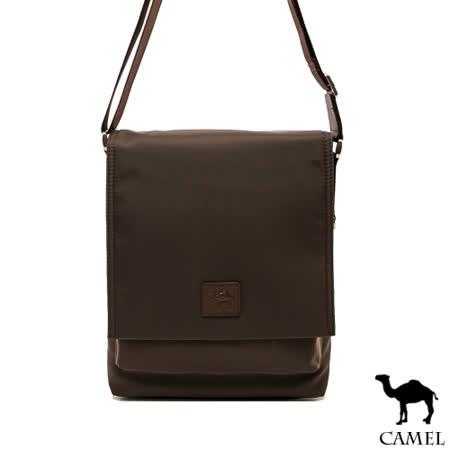 CAMEL - 倫敦品味十字紋防潑水牛皮掀蓋側背包-共2色