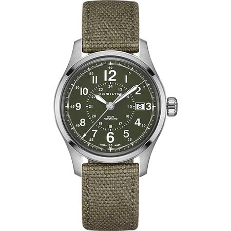 Hamilton KHAKI FIELD 軍事飛行戰鬥員機械腕錶-軍綠/40mm H70595963