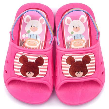 童鞋城堡-小熊學校 中小童 室內外拖鞋BE1911-粉