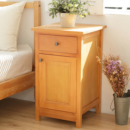 [自然行]Morning Gingy原木床頭櫃 (溫暖柚木色/免組裝/單門抽屜/客餐廳邊櫃/收納茶几/臥室床頭櫃/安全環保塗裝)