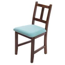 [自然行]-Avigons南法原木椅(焦糖色)湖水藍椅墊