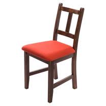 [自然行]-Avigons南法原木椅(焦糖色)橘紅色椅墊