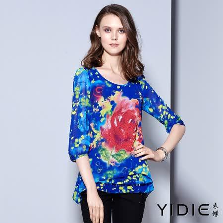 【YIDIE衣蝶】花樣鑲鑽層次傘擺透膚袖上衣