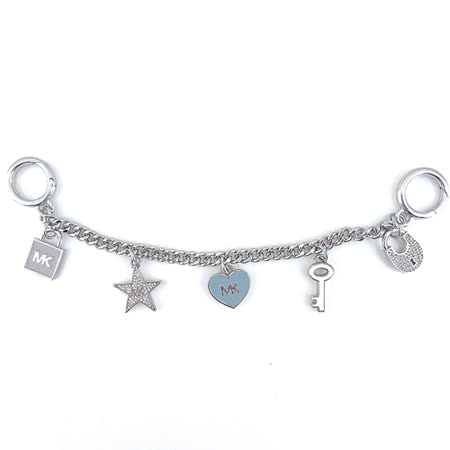 MICHAEL KORS 糖瓷愛心鑰匙鎖頭造型吊飾(粉藍/銀色)