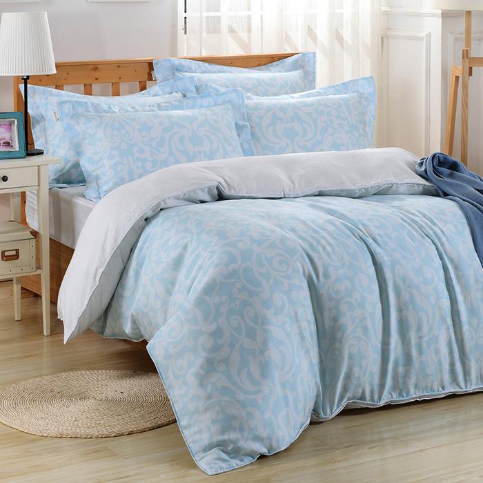 ~Betrise~漣漪~藍~環保印染德國防螨抗菌100^%天絲四件式兩用被床包組~特大