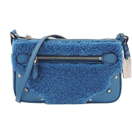 COACH 前拉鍊荔枝紋皮革絨毛鉚釘邊飾斜背包(藍)