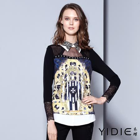 【YIDIE衣蝶】蕾絲領口透膚鑽飾印花上衣