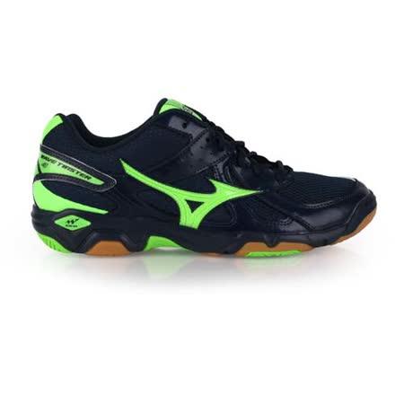 (男女) MIZUNO WAVE TWISTER 4 排球鞋-美津濃 深藍螢光綠