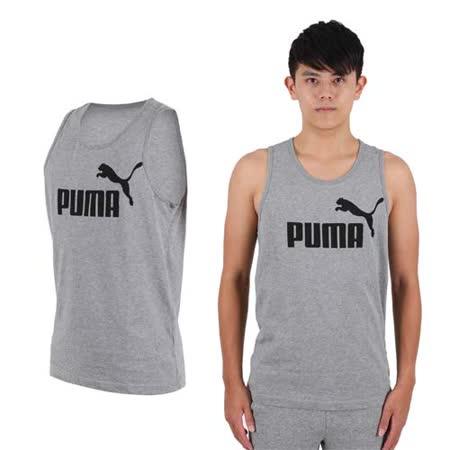 (男) PUMA LOGO休閒背心-路跑  健身 訓練 灰黑