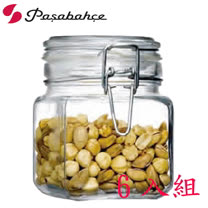 土耳其Pasabahce玻璃密封方形儲物罐740cc-六入組