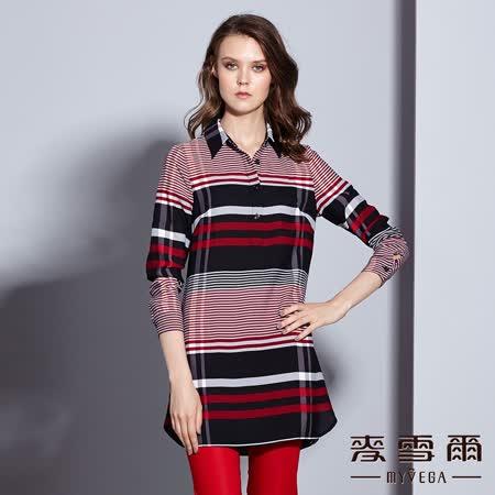 【麥雪爾】襯衫領格紋長版上衣(共二色)