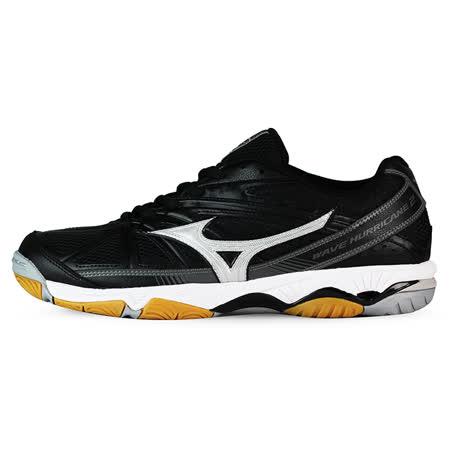 Mizuno 男 排球鞋 WAVE HURRICANE 2 美津濃 排羽球鞋 黑 V1GA164003