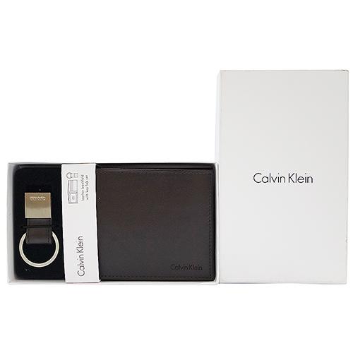 ~Calvin Klein~亮面皮革證件短夾鑰匙圈 ^(咖啡色^)