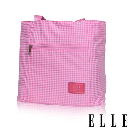 ELLE 輕旅休閒可掛式摺疊收納尼龍手提肩背包-(格紋粉 EL82357-33)