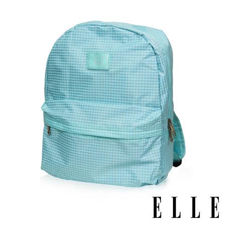 ELLE 輕旅休閒可掛式摺疊收納尼龍後背包-(格紋綠 EL83886-12)
