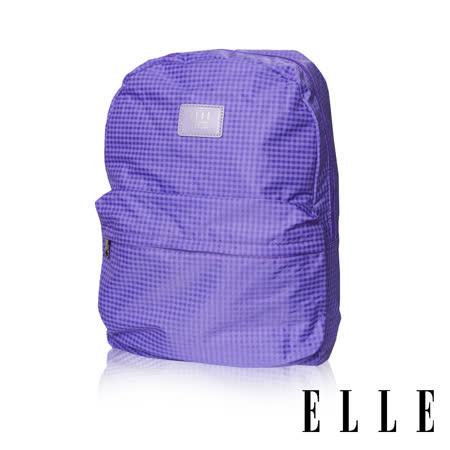ELLE 輕旅休閒可掛式摺疊收納尼龍後背包-(格紋紫 EL83886-24)