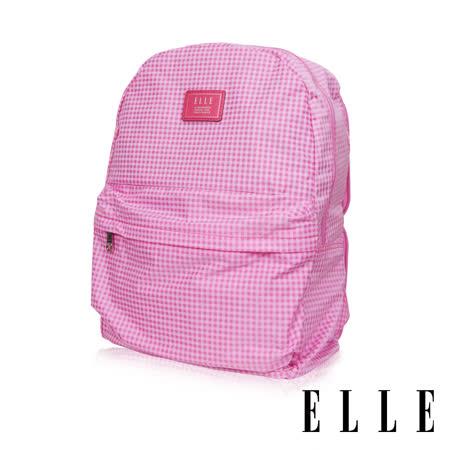 ELLE 輕旅休閒可掛式摺疊收納尼龍後背包-(格紋粉 EL83886-33)