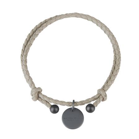 BOTTEGA VENETA 純手工編織雙環小羊皮手環(淺褐)