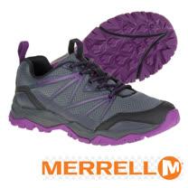 【美國 MERRELL】女新款 CAPRA RISE 專業輕量化避震透氣健行鞋(抗菌防臭鞋墊 耐磨)_GRIP鞋底.適登山 行走 _灰紫 ML37314