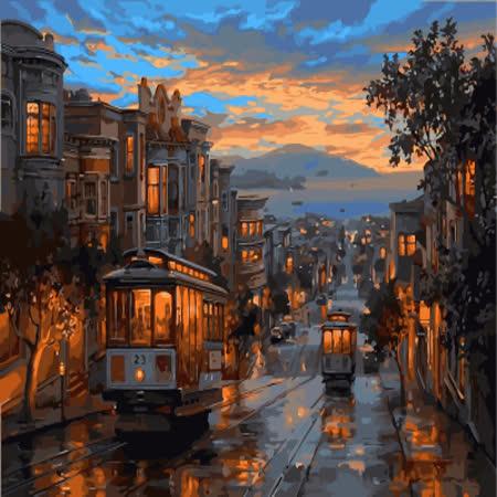 【ArtLife】創意油畫、數字油畫DIY_(傍晚街頭)