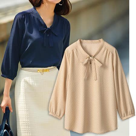 日本Portcros 預購-優雅七分袖綁結喬其紗上衣-圓點