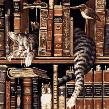 【ArtLife】創意油畫、數字油畫DIY_(書架上的貓)