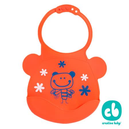 Creative Baby 可收納式攜帶防水無毒矽膠學習圍兜-活力寶貝(Silicone Bids)