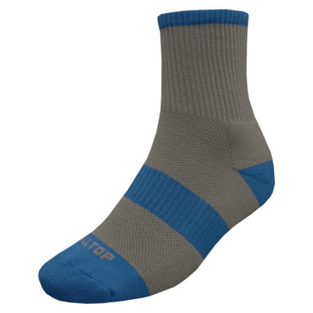 【hilltop山頂鳥】吸濕排汗抑菌多功能健行襪H47XD8-灰/寶藍