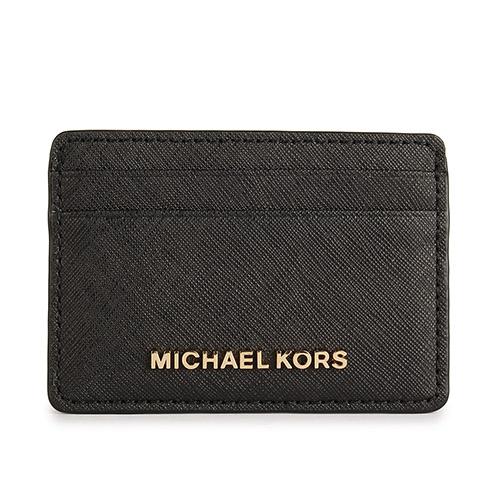 MICHAEL KORS 防刮皮革金屬LOGO證件名片夾~黑色