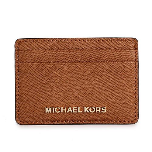 MICHAEL KORS 防刮皮革金屬LOGO證件名片夾~咖啡色