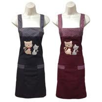 繡花貓兩口袋圍裙GS552-藍紅二入任組
