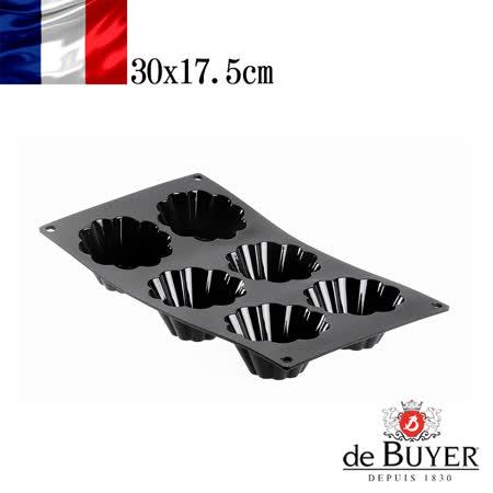 法國【de Buyer】畢耶烘焙『黑軟矽膠模系列』6格布里歐烤模