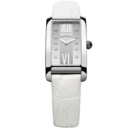 Maurice Lacroix 艾美錶 奢華典雅時尚方形鑽錶-白/20.9mm/FA2164-SS001-150