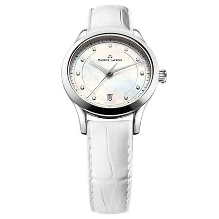 Maurice Lacroix 艾美錶 典雅系列真鑽時刻女用時尚腕錶-貝殼白/33mm/LC1026-SS001-170